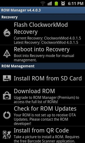 installing Clockwork Recovery