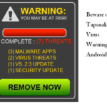 Beware of Tapsnake Virus Warning Android