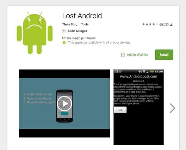 android lost play store screenshot