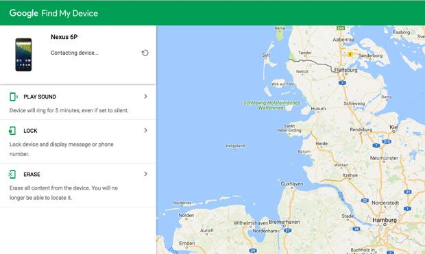 google find my device interface